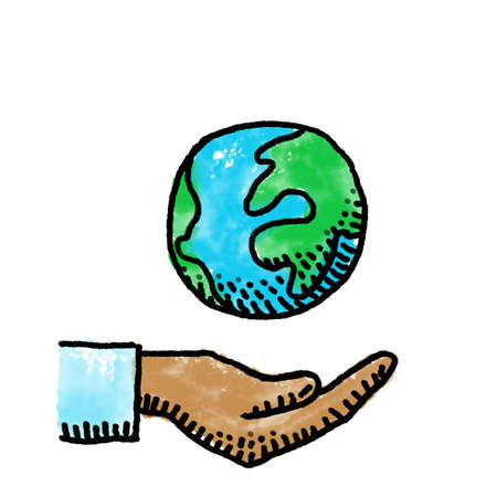 world and hand, digital painting, symbol of environmental protection