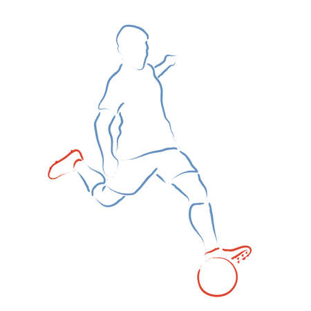 Stylized illustration with soccer player kicking the ball