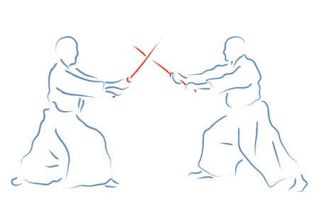 Aikido combat between athletes, stylized vector illustration