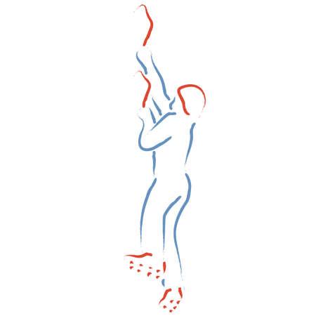Ice climbing, climber stylized vector illustration Ilustracja