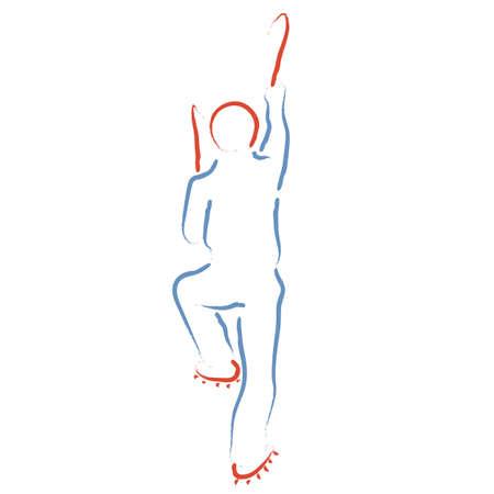 Ice climbing, climber stylized vector illustration