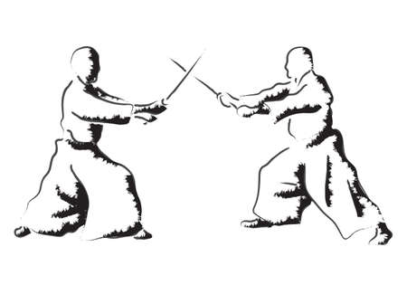 Aikido combat between athletes, stylized vector illustration