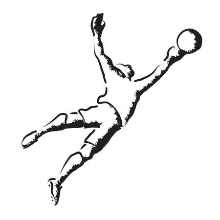 Goalkeeper parrying, football game, stylized vector illustration