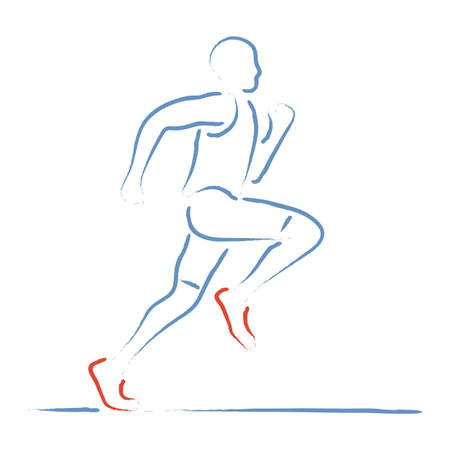 Stylized vector illustration with athlete in a speed race