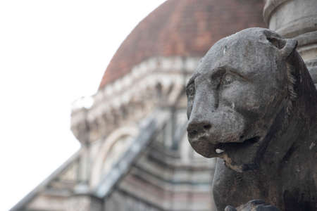 Detail of the base of the Cathedral of Santa Maria del Fiore, the Duomo of Florence, is the main Florentine church.