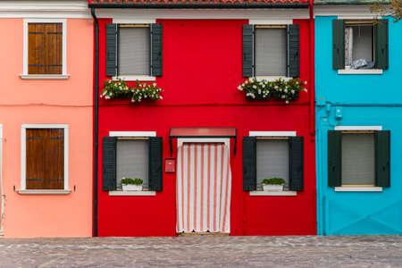 Burano island, characteristic view of colorful houses, Venice lagoon, Italy, Europe Archivio Fotografico