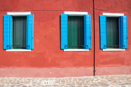 Burano island, characteristic view of colorful houses, Venice lagoon, Italy, Europe
