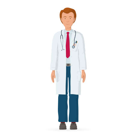 Vector illustration of medical people character. Professional doctor. Hospital worker.
