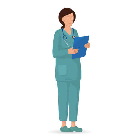 Vector illustration of character, medical staff. Professional female doctor. Hospital worker. Vettoriali