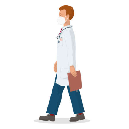 Vector illustration of a doctor with protective mask. Professional doctor. Hospital worker.
