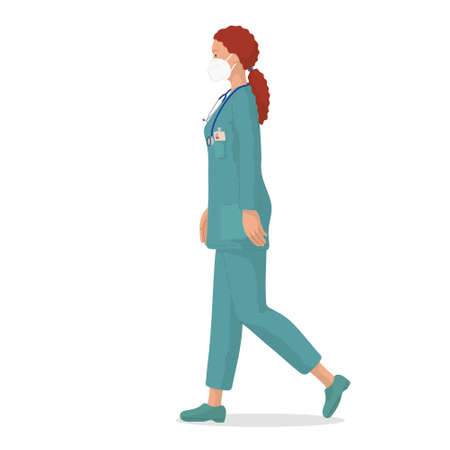 Vector illustration of a female doctor with protective mask. Professional doctor. Hospital worker.