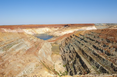 open pit: Open cut mining site in Western Australia, rich in resources as iron ore, gold, silver, diamonds and much more  Colourful, clear blue sky and a lot of copy space  Stock Photo
