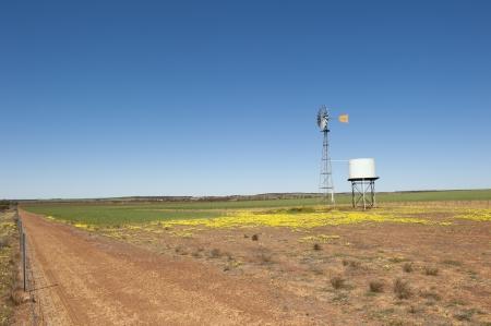 sequias: Molino de viento con tanque de agua adyacente de pie en un campo de trigo en el vasto interior de Australia Occidental, con el suelo seco, vista panorámica, el cielo azul como fondo y el espacio de la copia