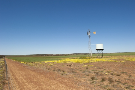 Windmill with adjacent water tank standing on a vast wheat field in outback Western Australia, with dry soil, panoramic view, blue sky as background and copy space