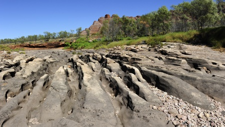 riverbed: Beautiful outback landscape of bee-hive shaped rock formations in Bungle Bungles or Purnululu National Park in Western Australia Stock Photo