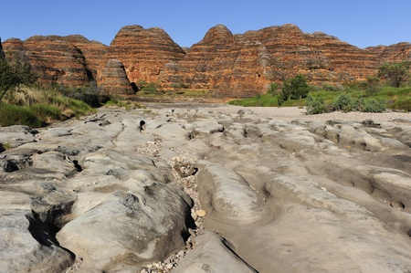 Beautiful outback landscape of bee-hive shaped rock formations in Bungle Bungles or Purnululu National Park in Western Australia