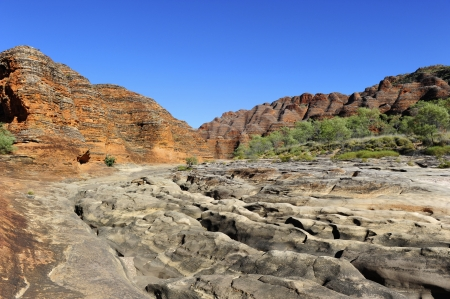 Beautiful outback landscape of bee-hive shaped rock formations in Bungle Bungles or Purnululu National Park in Western Australia Stock Photo