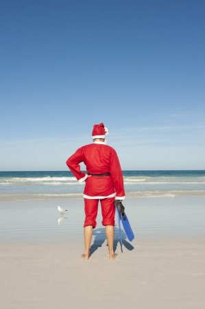 Santa Claus standing with flippers and snorkel at beach Stock fotó