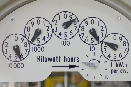 Close-up view of dials on an electric meter at residential building  Standard-Bild