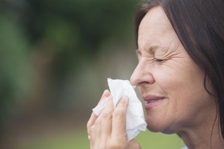 hayfever: Portrait smiling attractive mature woman suffering from cold or flu infection, sneezing into tissue, painful seasonal hayfever, with blurred outdoor background and copy space.