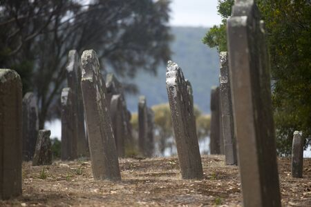 penal: Old Graveyard Isle of Deads atPort Arthur Convict Penal Settlement in Tasmania, Australia. Stock Photo