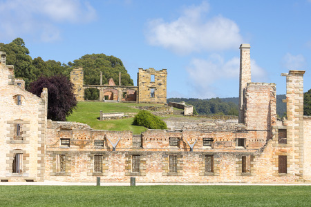 heritage site: World Heritage Site of  Port Arthur Convict Museum Settlement in Tasmania, Australia, with ruins of historic prison and other buildings, tourist destination.