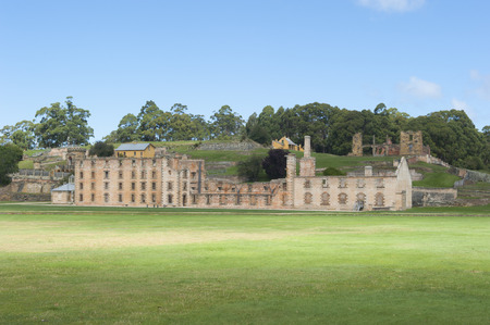 gaol: World Heritage Site of  Port Arthur Convict Museum Settlement in Tasmania, Australia, with ruins of historic prison and other buildings, tourist destination, copy space. Editorial