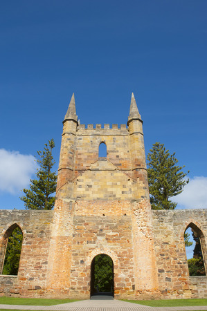 gaol: World Heritage Site of  Port Arthur Convict Museum Settlement in Tasmania, Australia, with ruins of historic church, tourist attraction and destination. Editorial