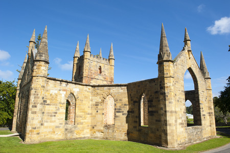 arthur: World Heritage Site of  Port Arthur Convict Museum Settlement in Tasmania, Australia, with ruins of historic church building, tourist attraction and destination.