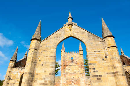 gaol: World Heritage Site of  Port Arthur Convict Museum Settlement in Tasmania, Australia, with ruins of historic church, tourist attraction and destination..