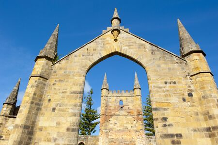 arthur: World Heritage Site of  Port Arthur Convict Museum Settlement in Tasmania, Australia, with ruins of historic church building, tourist  destination.