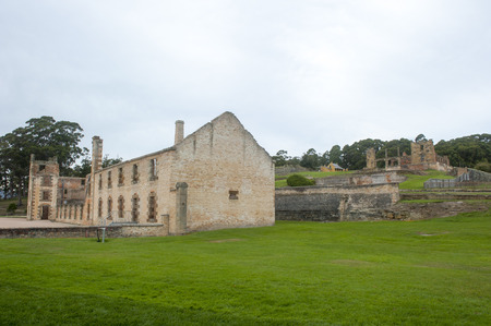 gaol: World Heritage Site of  Port Arthur Convict Settlement Museum in Tasmania, Australia, with ruins of prison and other historic buildings, tourist attraction and destination. Editorial