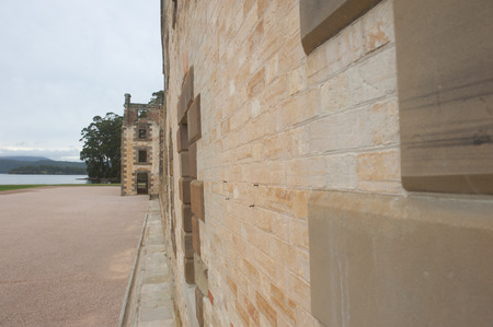 gaol: World Heritage Site of  Port Arthur Convict Settlement in Tasmania, Australia, with ruins of prison and other historic buildings, tourist destination. Stock Photo