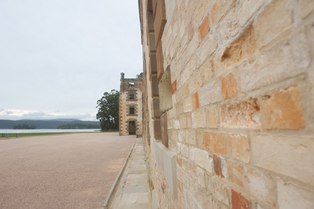 gaol: World Heritage Site of  Port Arthur Convict Settlement Museum in Tasmania, Australia, with ruins of prison and other historic buildings, tourist attraction and destination. Stock Photo