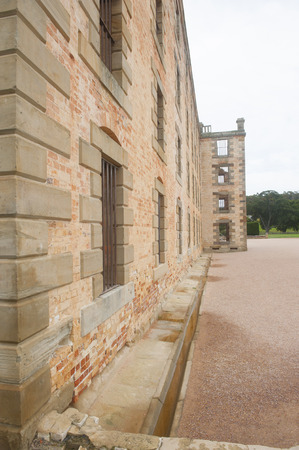 gaol: World Heritage Site of  Port Arthur Convict Settlement in Tasmania, Australia, with ruins of prison and other historic buildings, tourist attraction and destination.