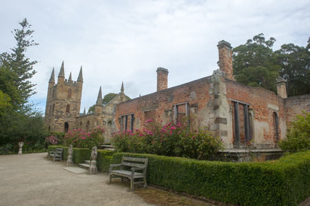garden settlement: World Heritage Site of former convict settlement Port Arthur on Tasmania, Australia, and now muesum, with ruins of Governor House and Church buildings.