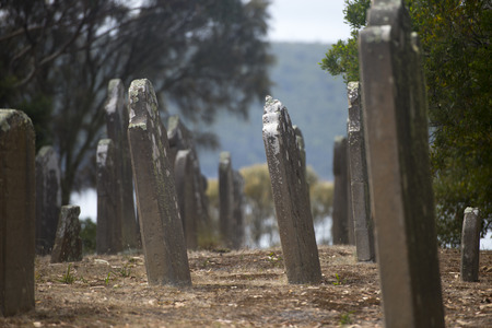 penal: Old Graveyard Isle of Deads at World Heritage Site Port Arthur Convict Penal Settlement in Tasmania, Australia.