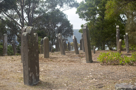 penal: Historic Graveyard Isle of Deads at World Heritage Site Port Arthur Convict Penal Settlement in Tasmania, Australia. Stock Photo