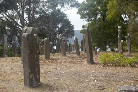 arthur: Historic Graveyard Isle of Deads at World Heritage Site Port Arthur Convict Penal Settlement in Tasmania, Australia. Stock Photo