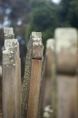 penal: Historic Graveyard Isle of Deads at World Heritage Site Port Arthur Convict Penal Settlement in Tasmania, Australia, with broken tombstones. Stock Photo