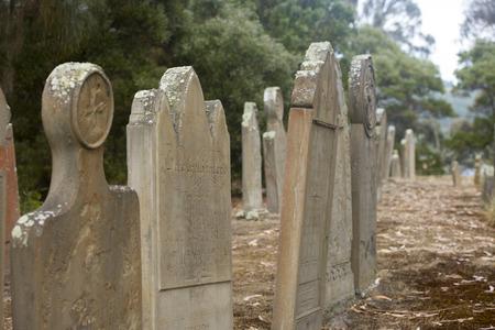 relict: Historic Graveyard Isle of Deads at World Heritage Site Port Arthur Convict Settlement in Tasmania, Australia.