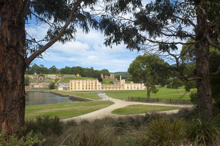 arthur: World Heritage Site of  Port Arthur Convict Settlement in Tasmania Australia with ruins of prison and other historic buildings tourist attraction and destination. Stock Photo