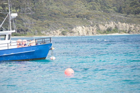 commercial fisheries: Fishing boat vessel anchoring in Tasmanian harbour, with coastline Stock Photo