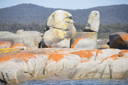 Orange coloured rocks at the coastline of the Bay of Fires, Tasmania, Australia, with crystal clear ocean, mountains in hinterland photo