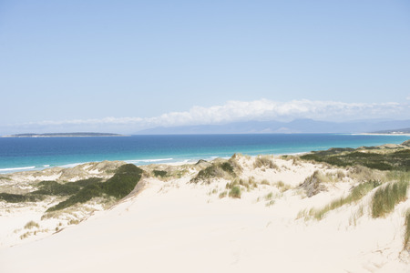 Beautiful scenery of Coastline at Bay of Fires, Tasmania, Australia, at sunny summer day, with sand dunes, turquoise ocean water, mountains as blurred background photo