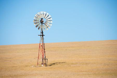 molino de agua: Close Up girar las hojas de molino de viento icónico en el interior Australia el bombeo de agua en la granja de trigo en el campo agrícola a distancia, verano soleado cielo azul, copia espacio.