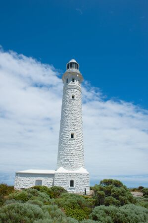 southern indian: Historic Cape Leeuwin Lighthouse, near Augusta, Western Australia, where Southern and Indian Ocean meet. Stock Photo