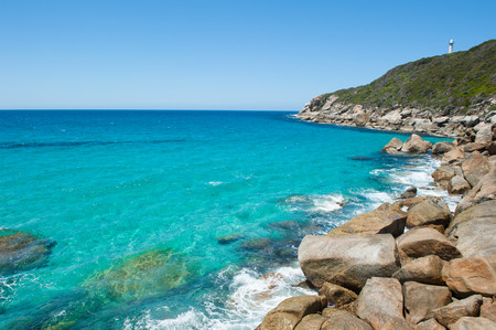 western australia: Beautiful panoramic view of cliff coast at Torndirrup National Park, Albany, Western Australia, wild Southern Ocean, blue sky, copy space.
