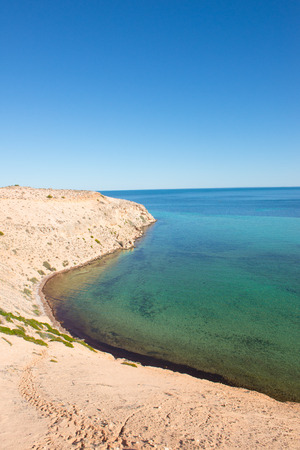 shark bay: Scenic view of Eagles Bluff at Shark Bay World Heritage Area in Western Australia, clear ocean, summer sunny blue sky, horizon, copy space.