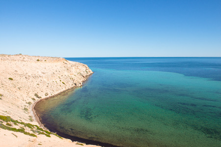 shark bay: Beautiful panorama of Eagles Bluff at Shark Bay World Heritage Area in Western Australia, clear ocean, summer sunny blue sky, horizon, copy space.